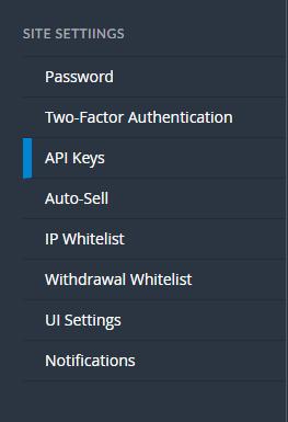 Créer une API Bittrex