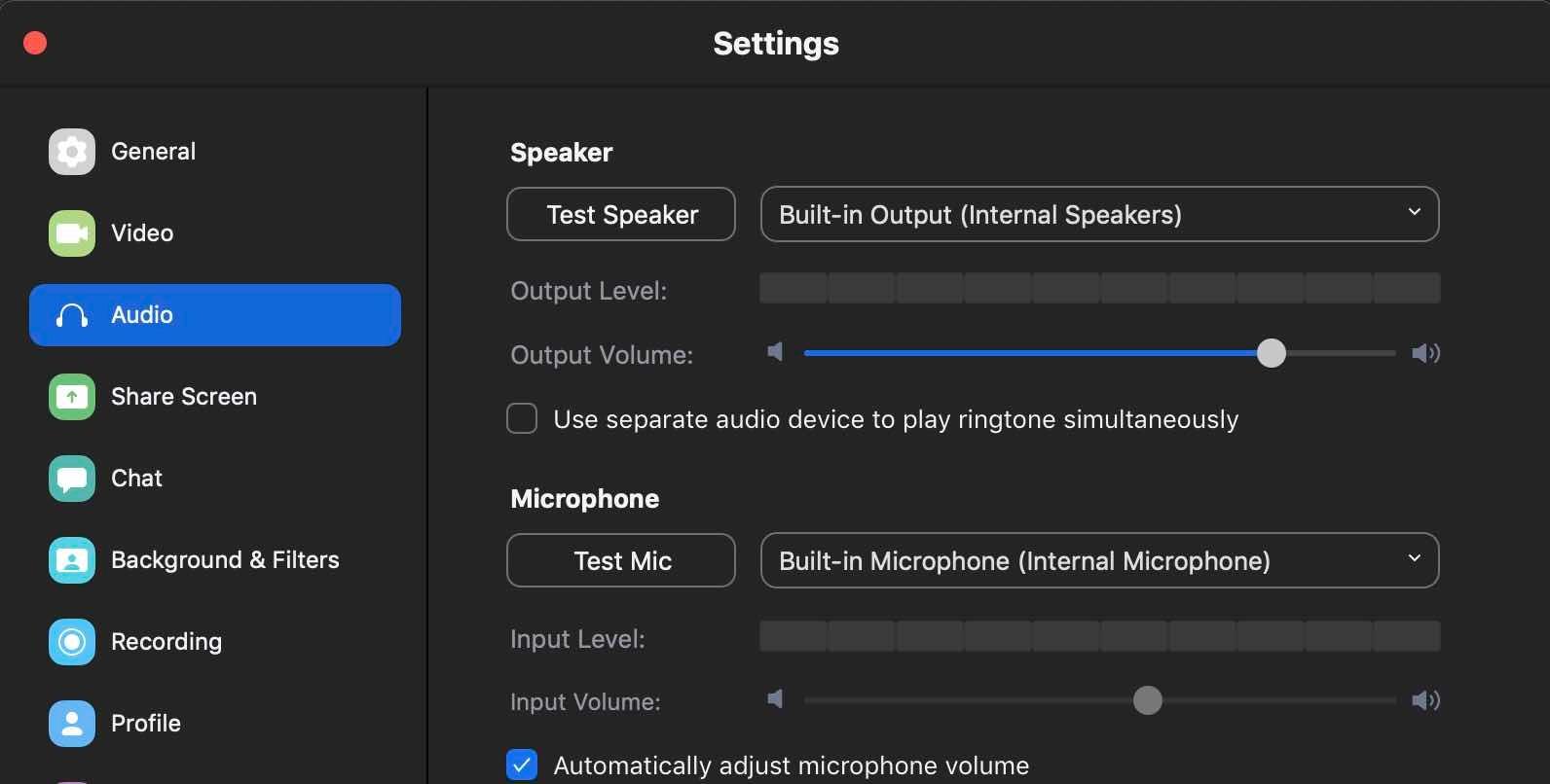 Zoom audio settings.
