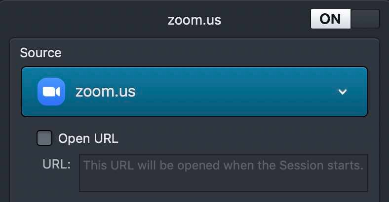 Setting up a block for Zoom in Audio Hijack.