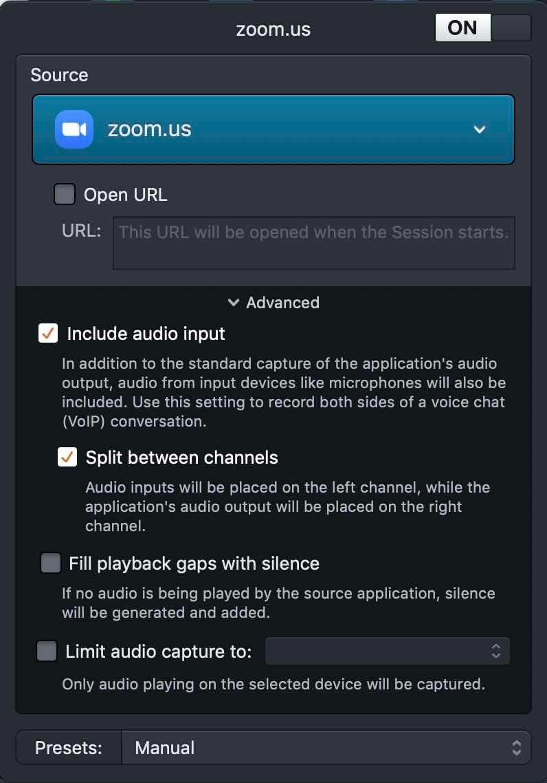 Zoom audio settings in Audio Hijack.