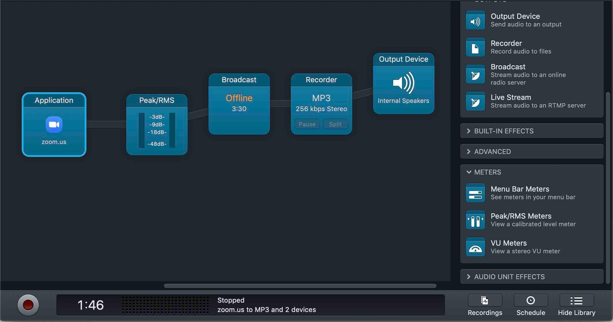 Configuring audio block setup in Audio Hijack.