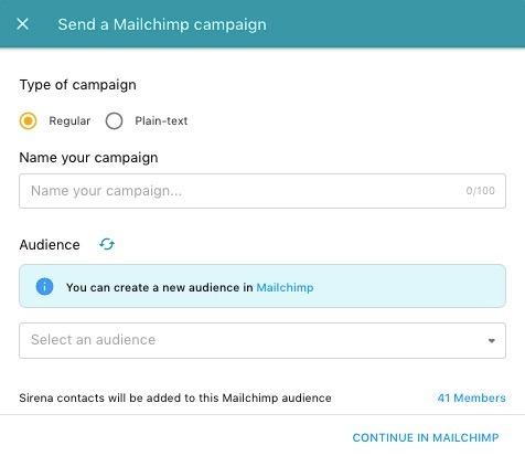 mailchimp campaign sirena