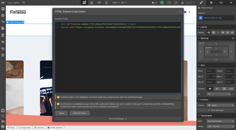 Embedding a script code to Webflow