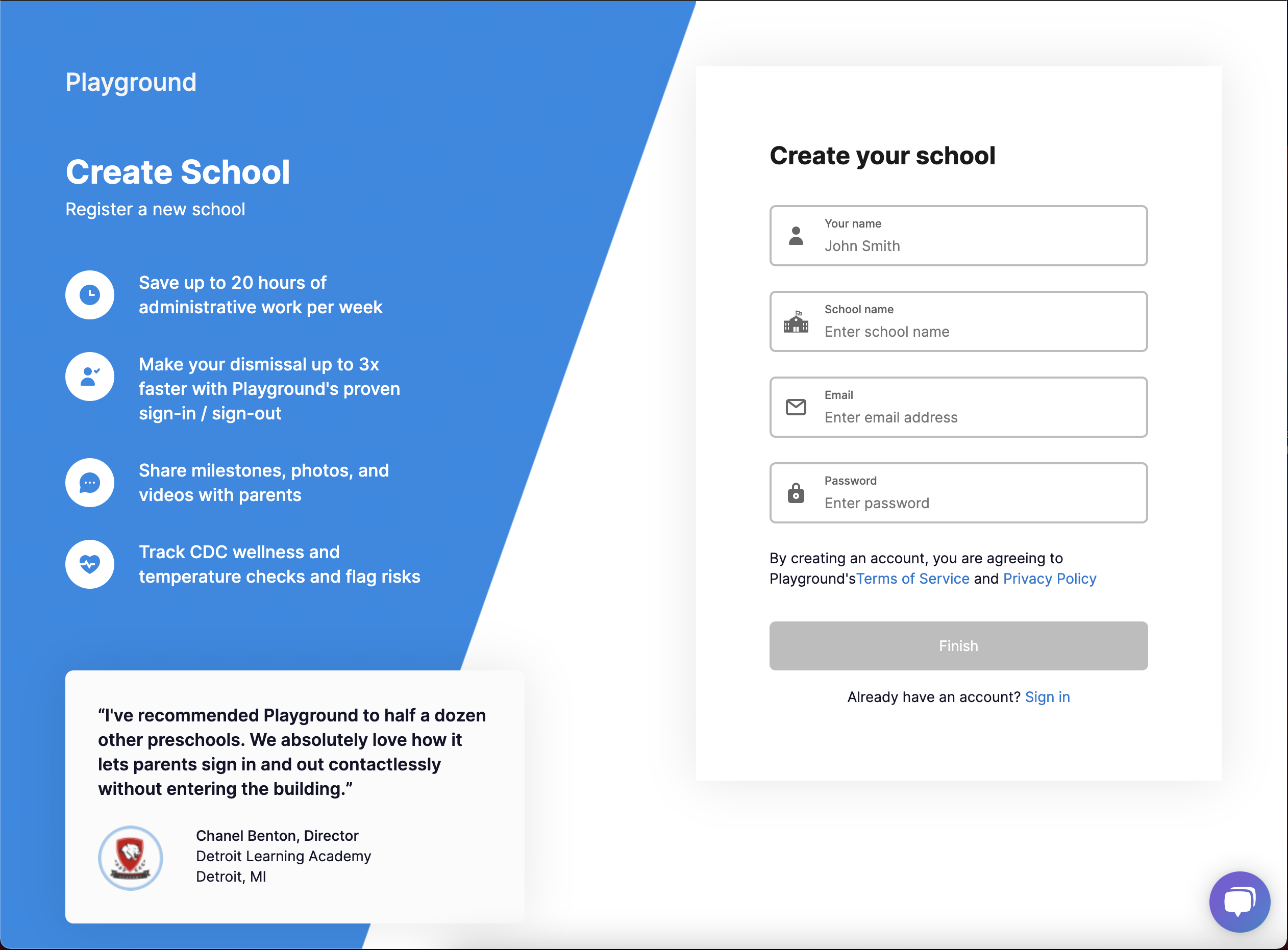 School signup screen