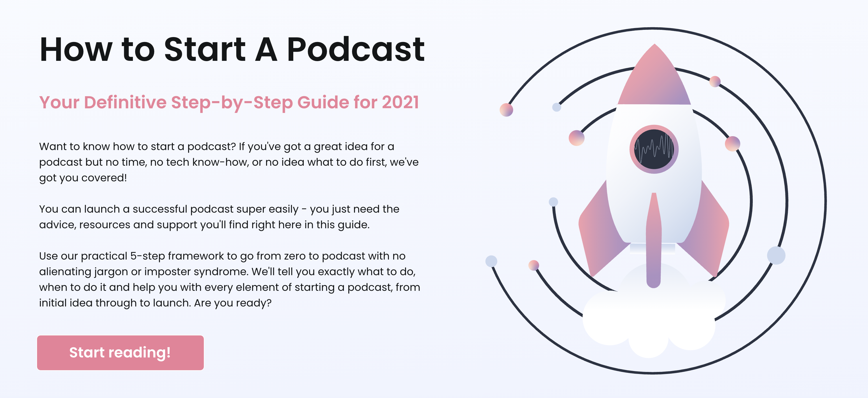 A screenshot of the how to start a podcast: definitive step-by-step guide for 2021.
