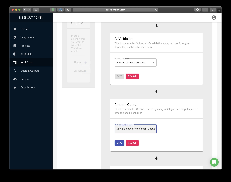 a Bitskout workflow configuration window where we add a custom output.