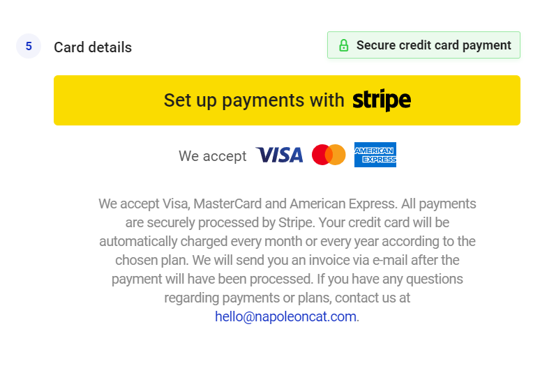 secure credit card payment in napoleoncat