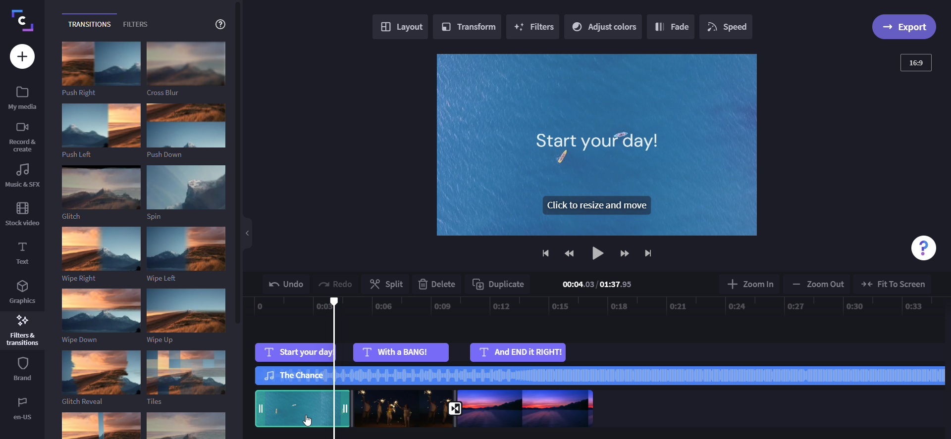 An image of a video project in Clipchamp video editor with the transition menu open.