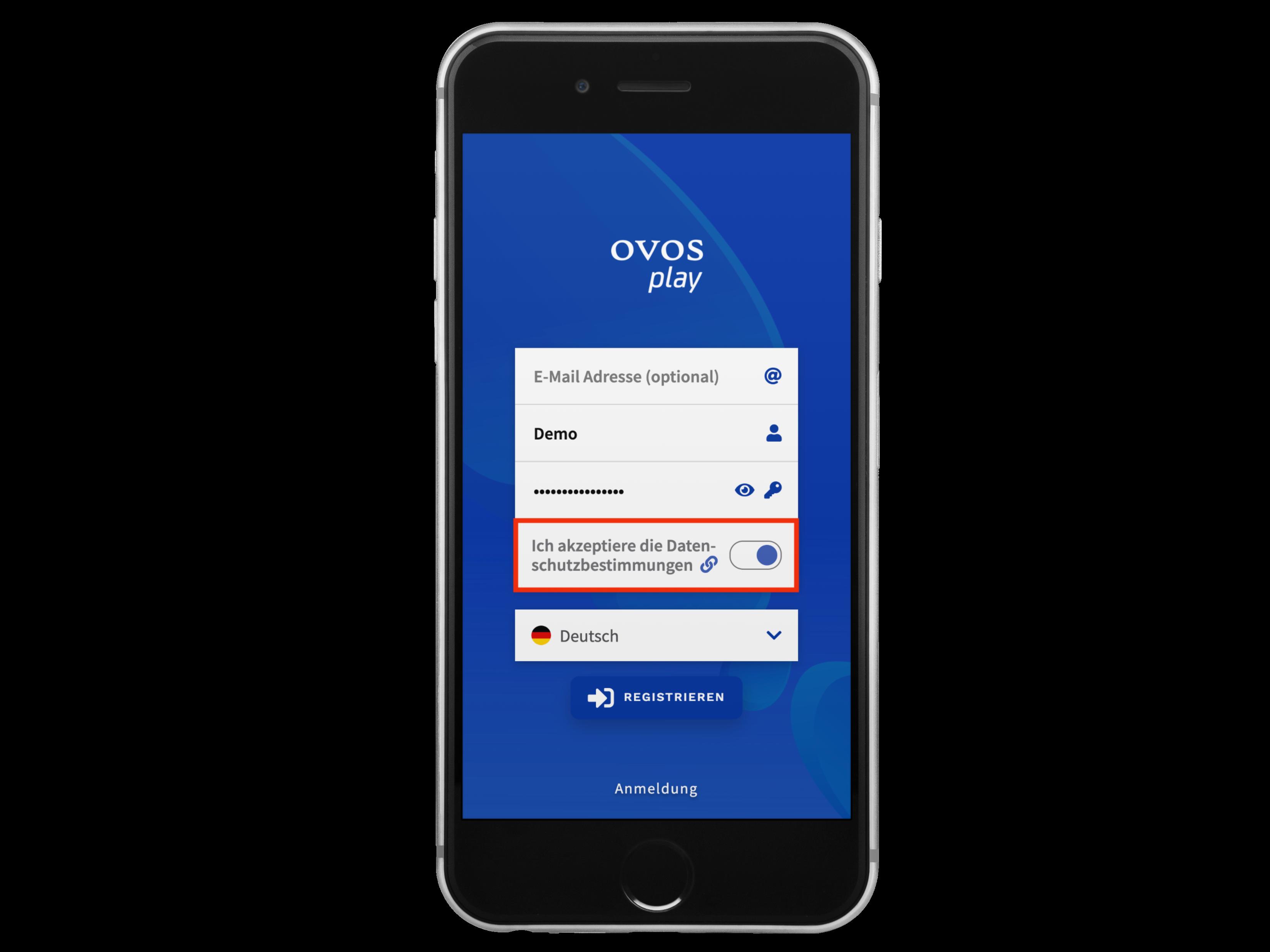 Darstellung der Vereinbarungs-Seiten auf der Registrierungs-Seite der App.