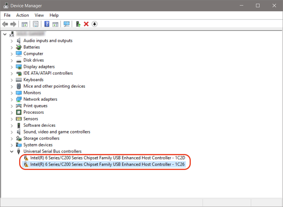 Device Manager with device missing drivers highlighted.