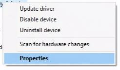 Context menu item with Properties selected.