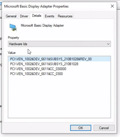 Device properties window with Details tab selected, hardware Ids property selected, displaying Vendor ID and Device ID for a hardware device.