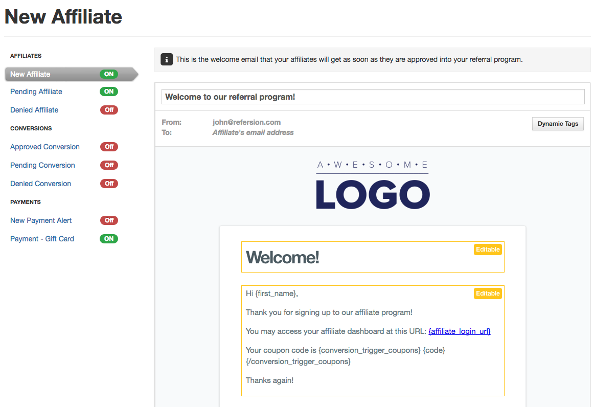 How To Customize Automated Email Templates | Refersion Help Center