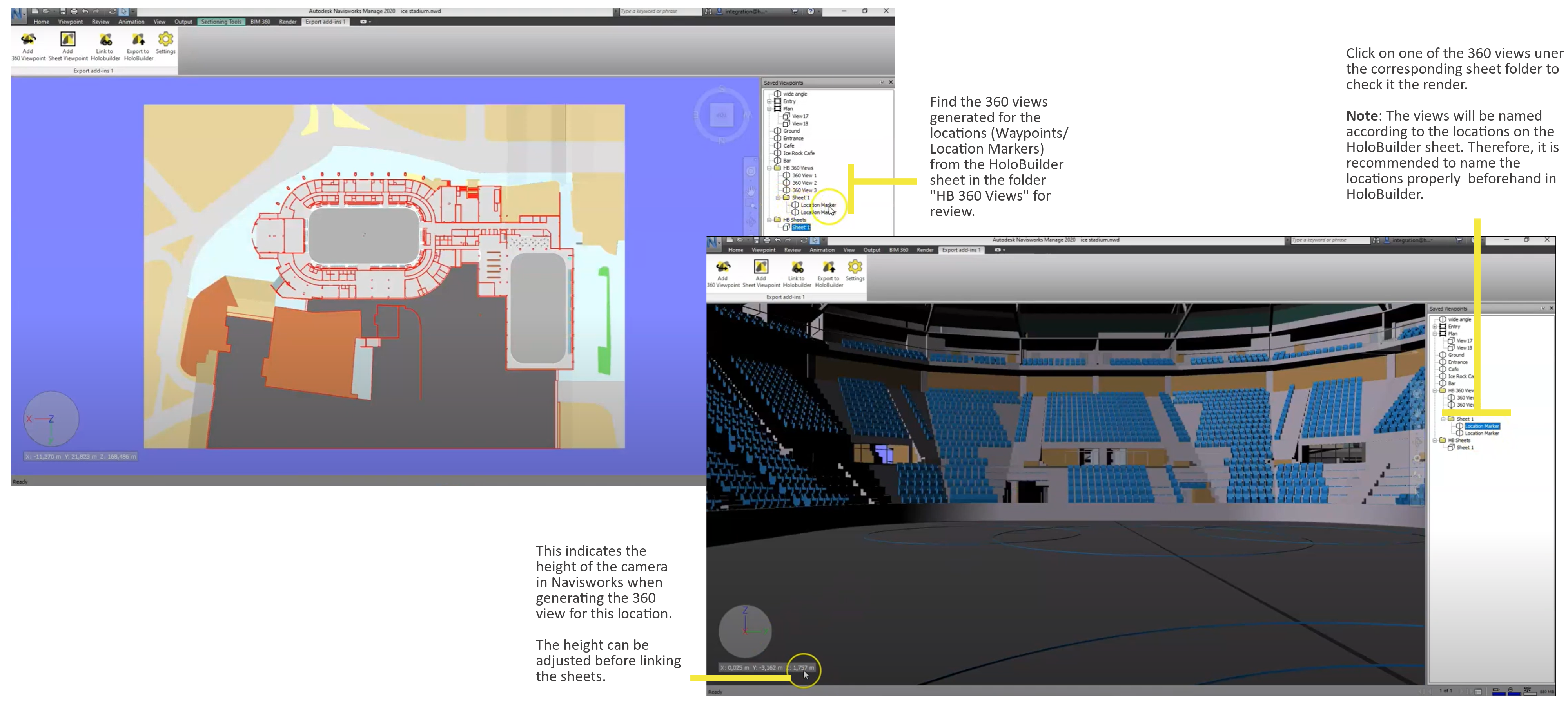 Check your 360 views in Navsiworks to export to HoloBuilder