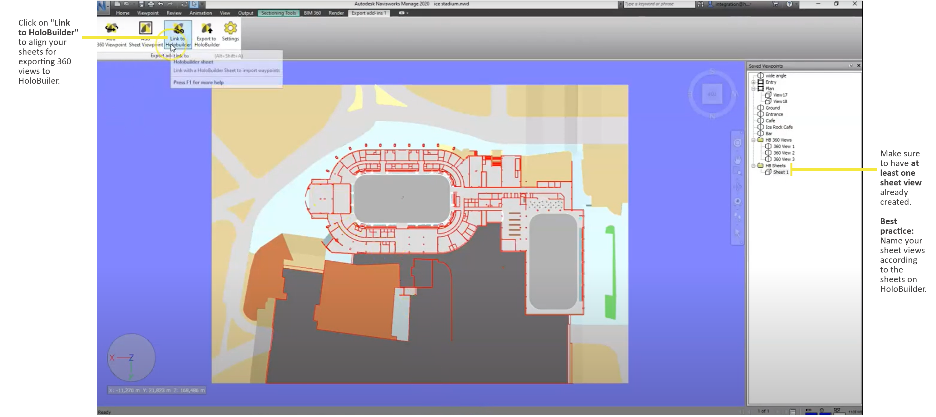 Start the linking process for your Navisworks sheet with your HoloBuilder project