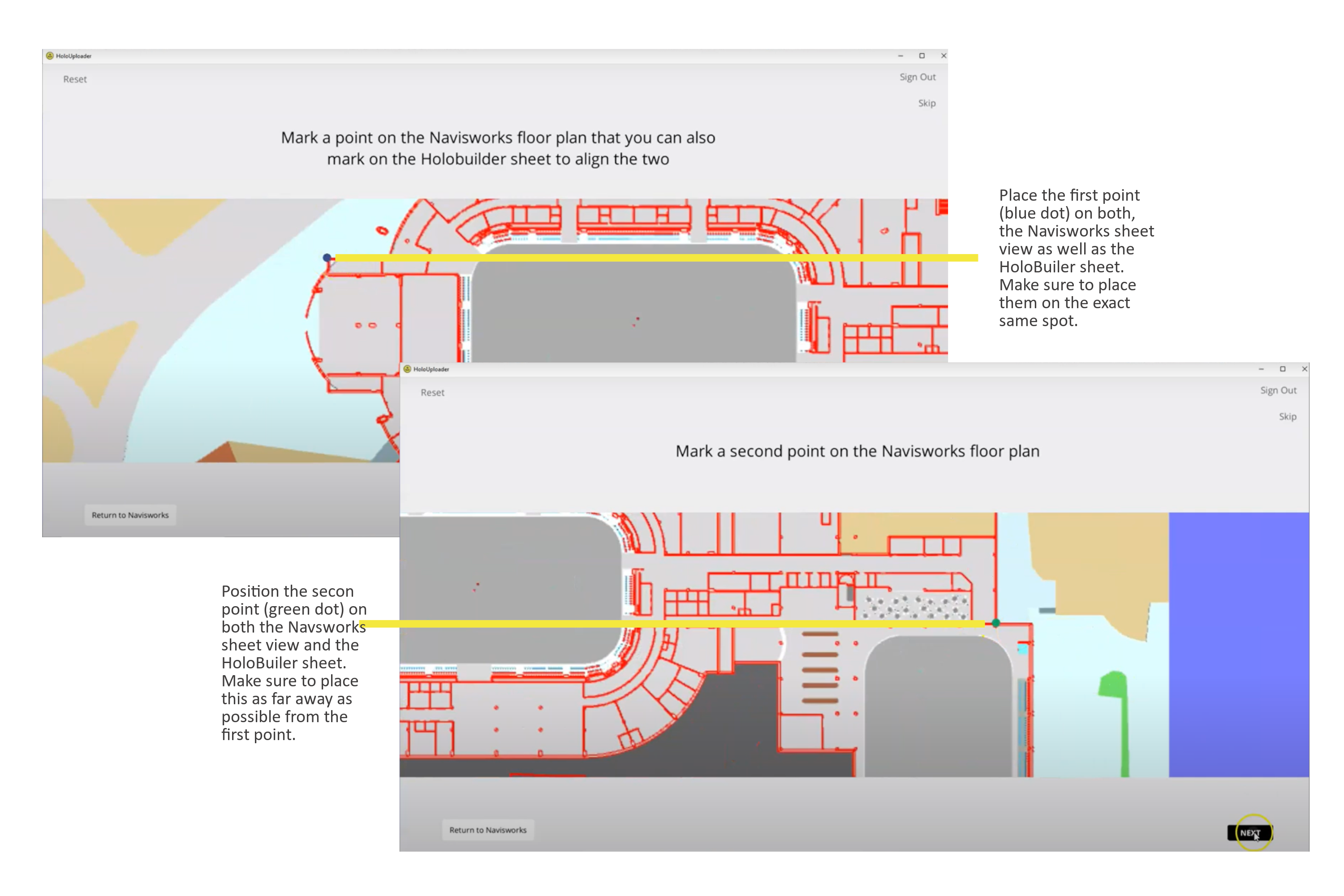 Place the 2 points for aligning the Navisworks sheet view with the HoloBuilder sheet