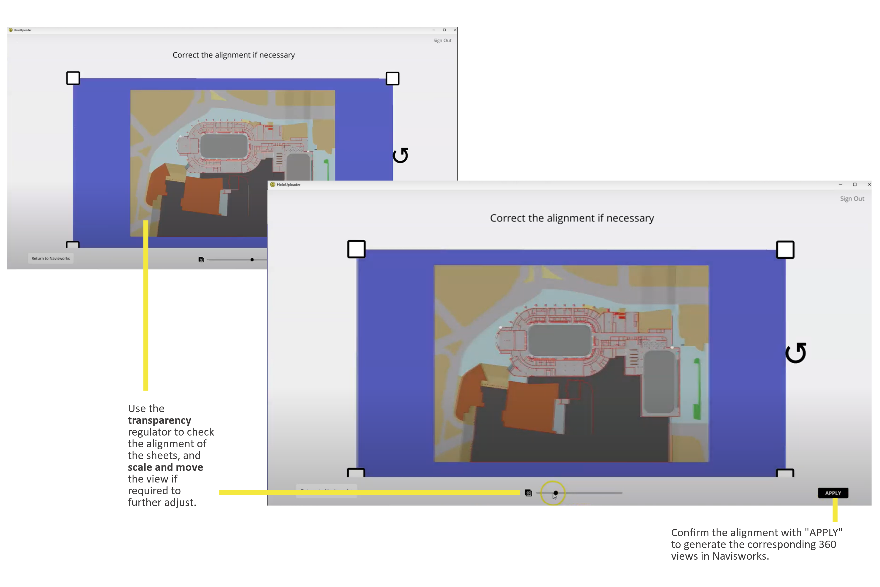 Comfirm the alignment of the Navisworks sheet with the selected HoloBuilder sheet