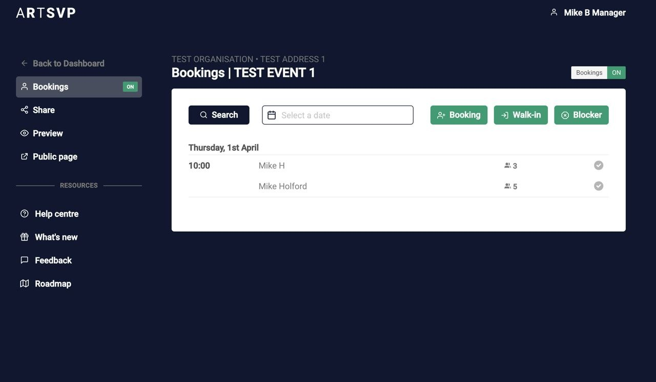 View of bookings page/guest list for Booking Manager