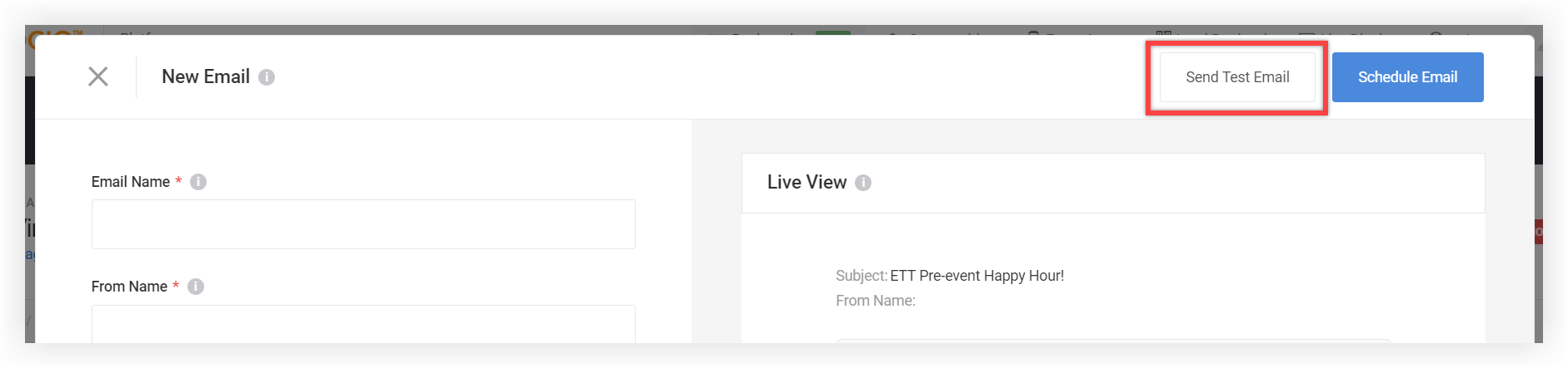 Screenshot of the New Email modal with the Send Test Email button highlighted.