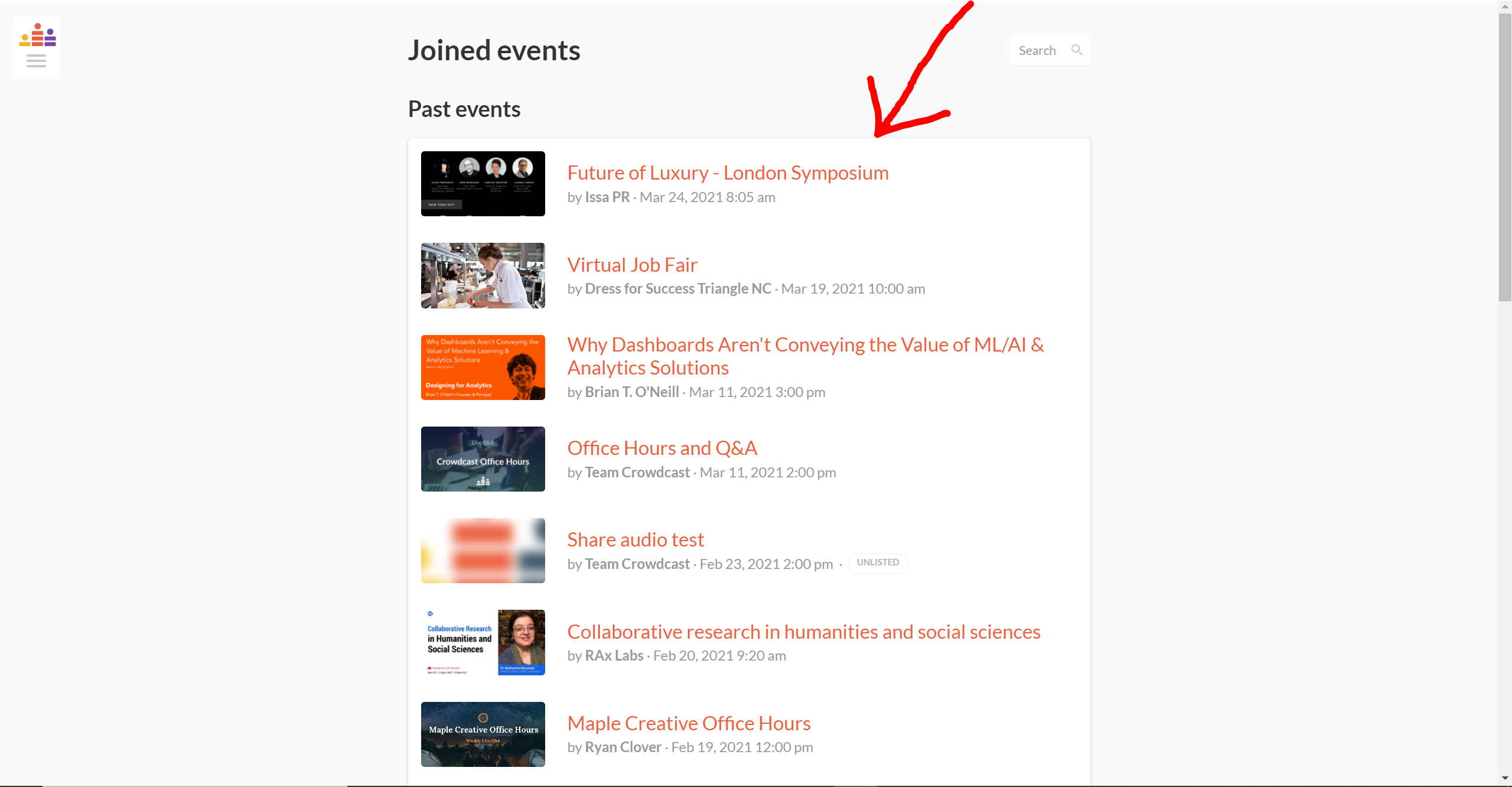 joined events with an arrow pointing to an event