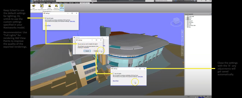 Disabling the default lighting settings of the HoloBuilder plug-in for the 360 rendering generation in Navisworks