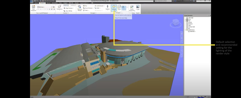 Full lights as recommended setting for exporting 360 renders from Navisworks to HoloBuilder