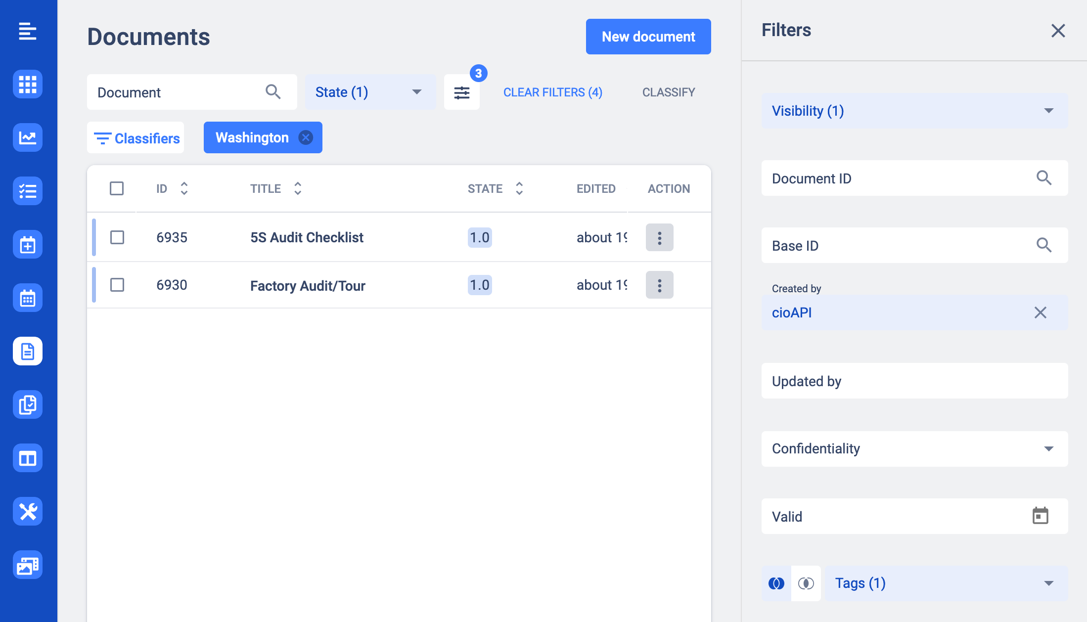 New filter for editor document view