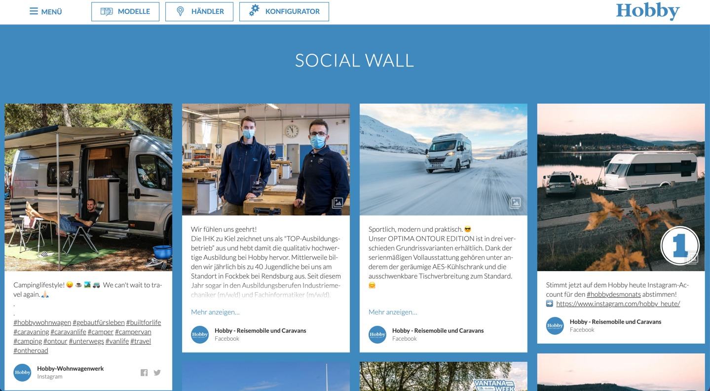 A social media wall embedded on a TYPO3 website