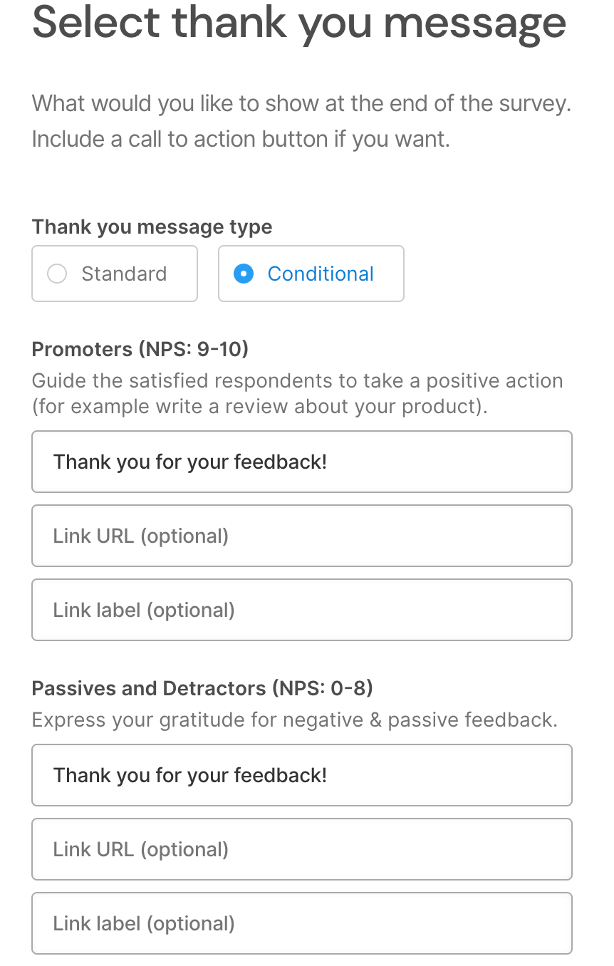 SatisMeter - Use conditional Thank You Message for your customer survey