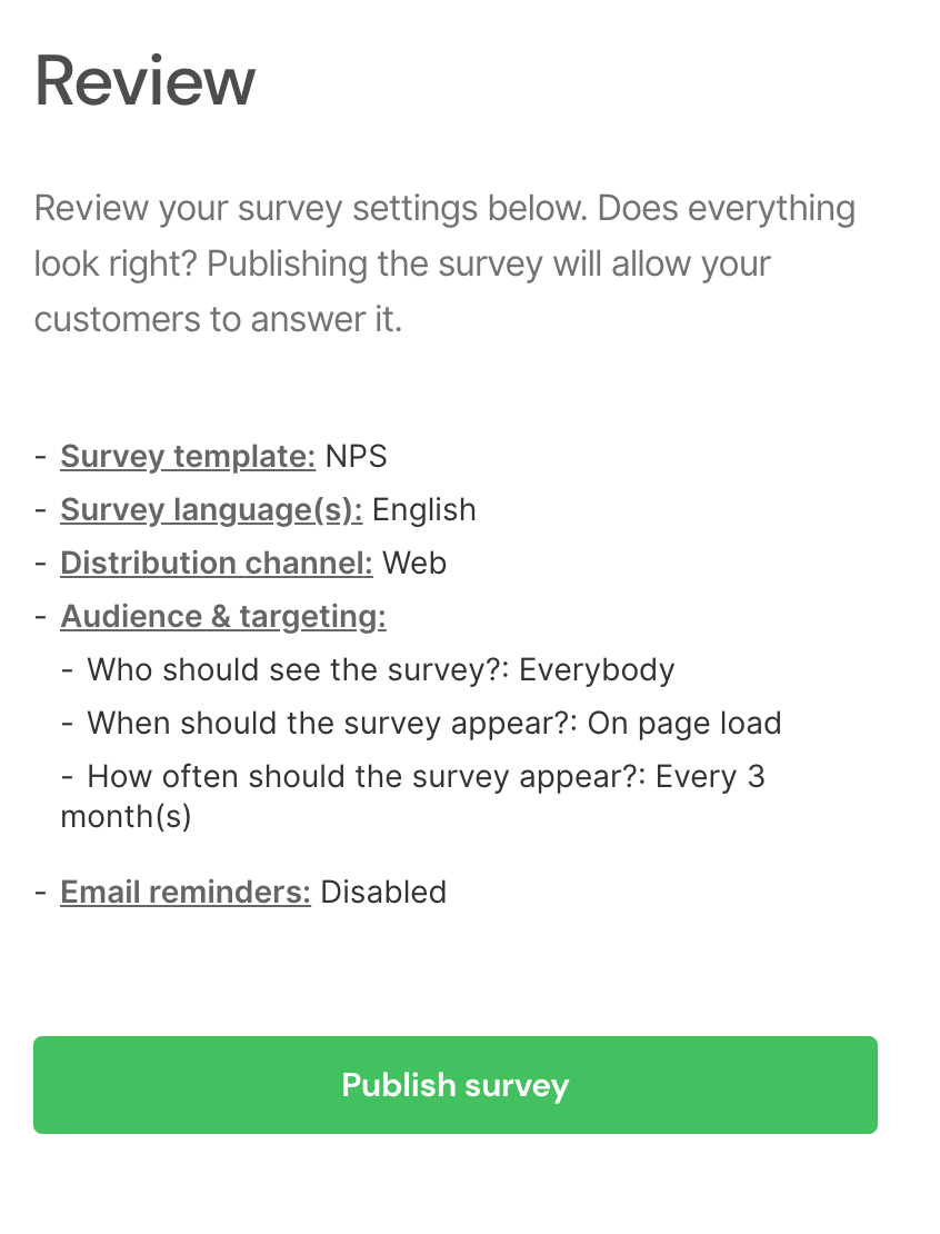SatisMeter - Review and publish your customer survey