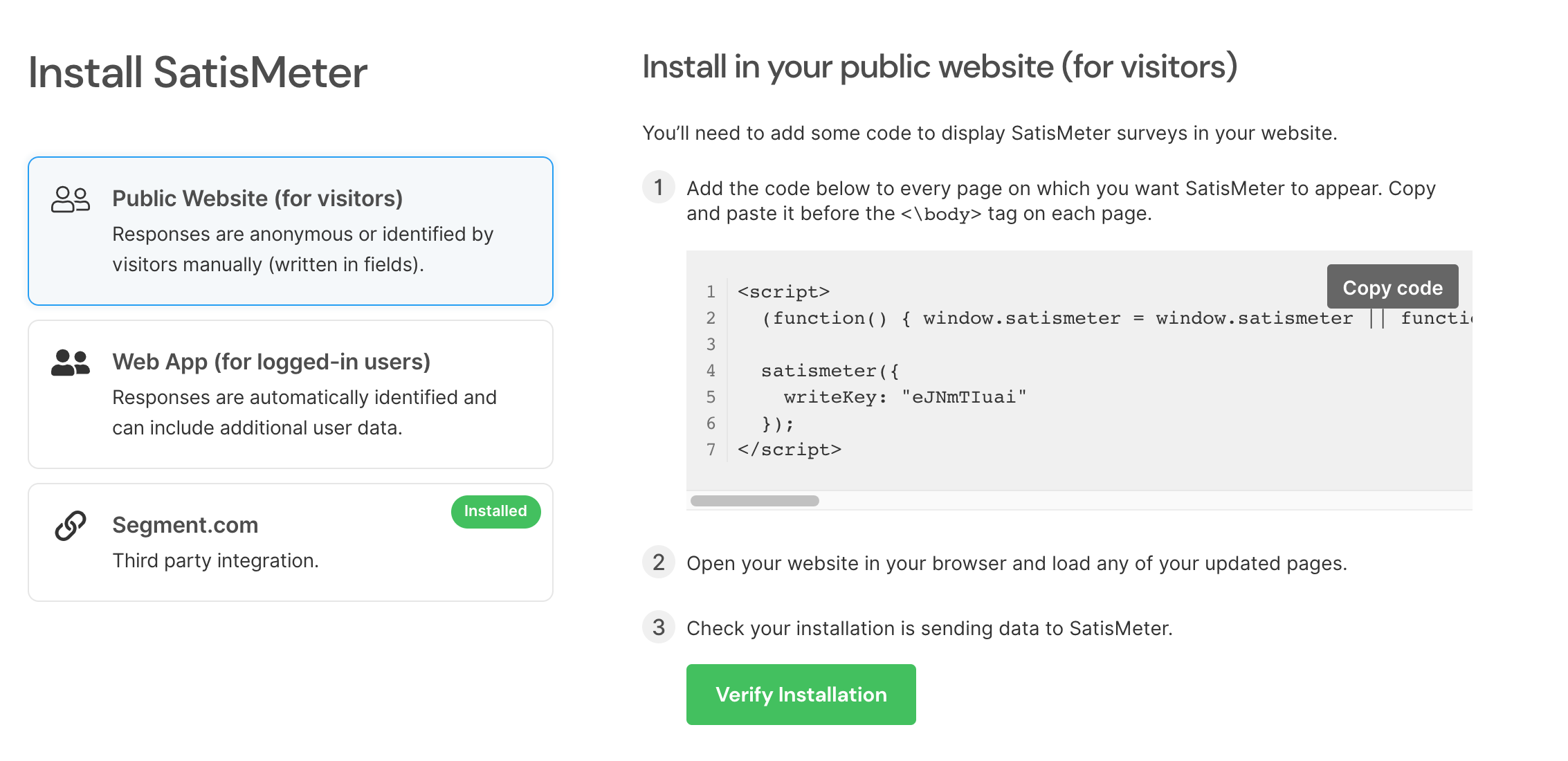 SatisMeter - How to install customer survey code into Website