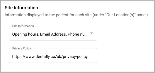 Dentally Patient Portal Practice Settings - Privacy Policy