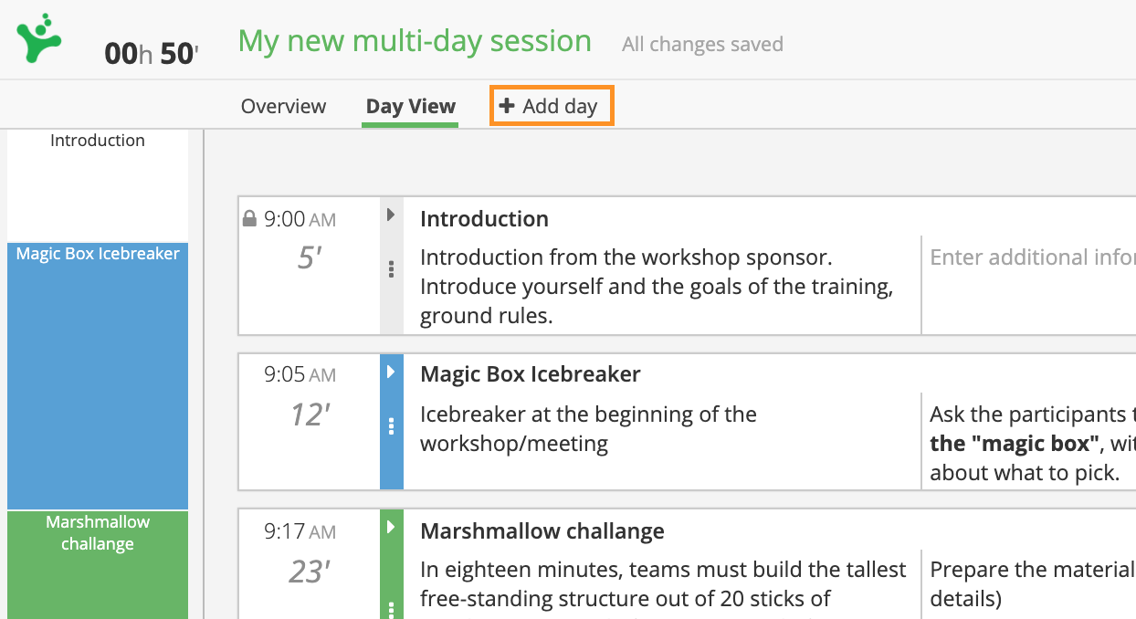 Add a day to your session
