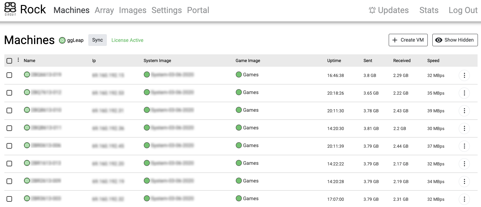 ggRock Web UI with Machines tab selected