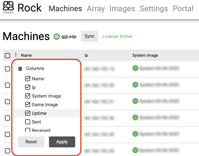 ggRock Machines Tab with Column Customization context menu highlighted