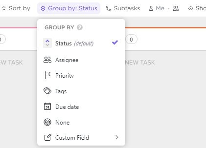 group by status in board view
