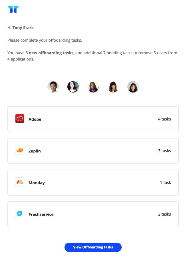 Offboarding tasks email