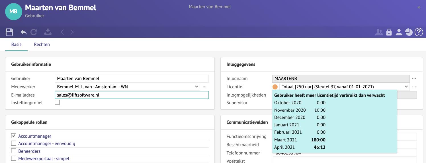 Screenshot van de gebruikerskaart met de tooltip die aangeeft dat de sleutel meer licentietijd heeft verbruikt dan verwacht.
