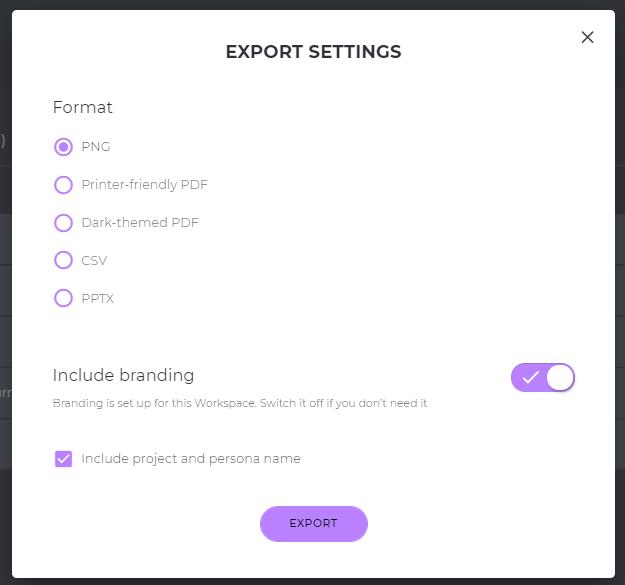 persona export