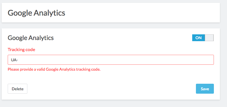 analytics module settings with tracking code field highlighted