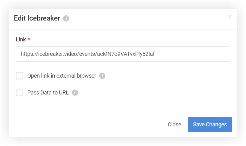 Screenshot of the edit modal for the Web Link feature with the URL filled in.