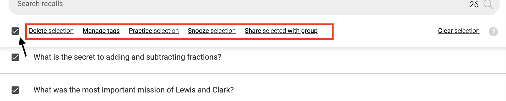 The select all checkbox.