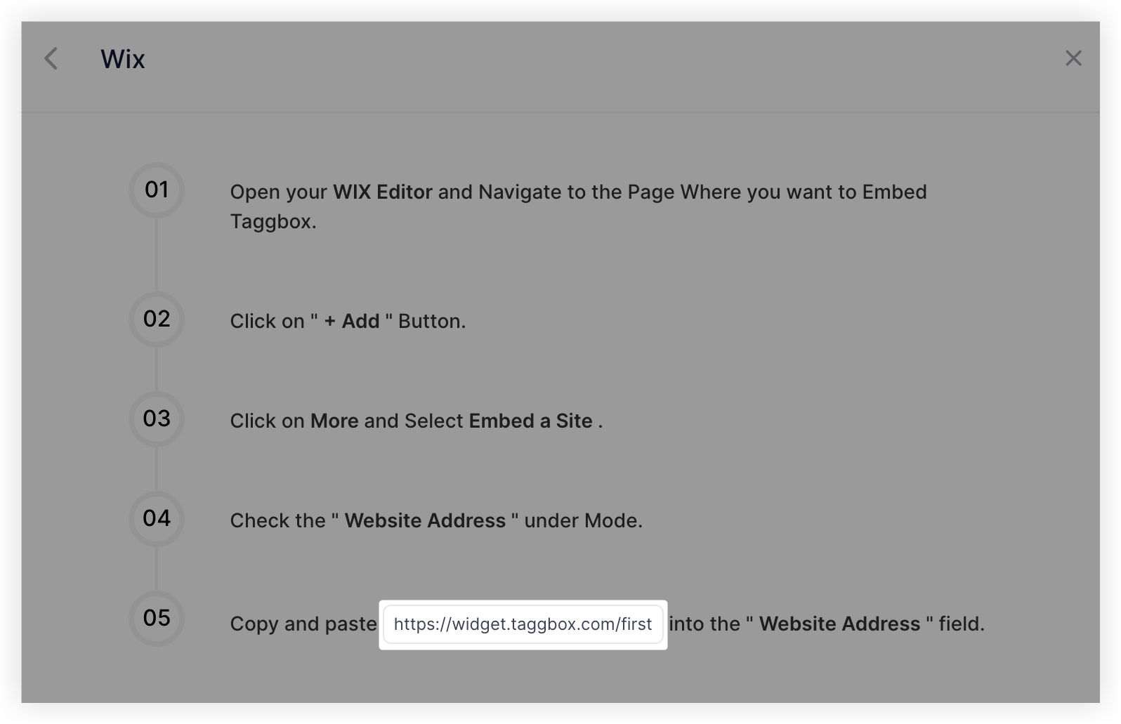 Screenshot showing the pop-up with the URL in step 5 highlighted.