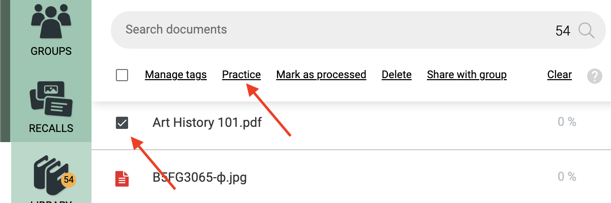 The bulk action tools appear after you make a selection in the list.
