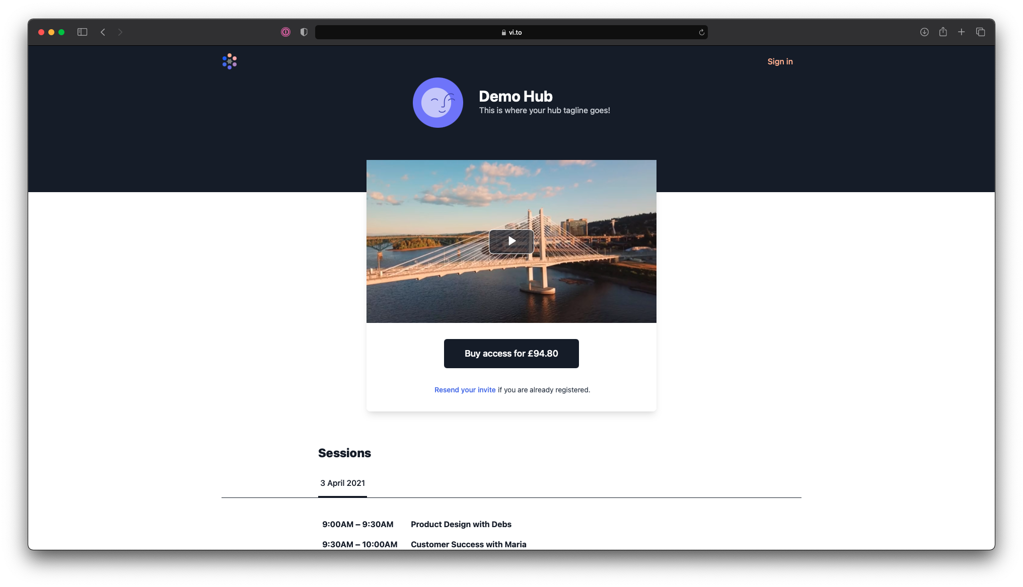 Screenshot of a public page for Demo Hub with a teaser video and a button to buy access for £94.80.