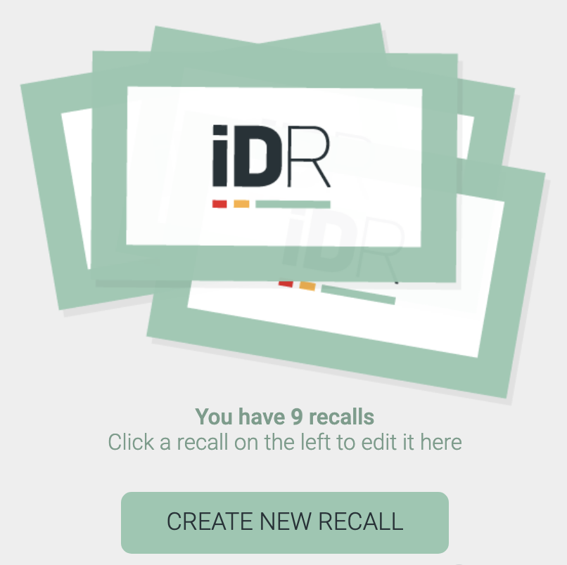 Click the CREATE NEW RECALL button to create a recall that is not associated with a library item.
