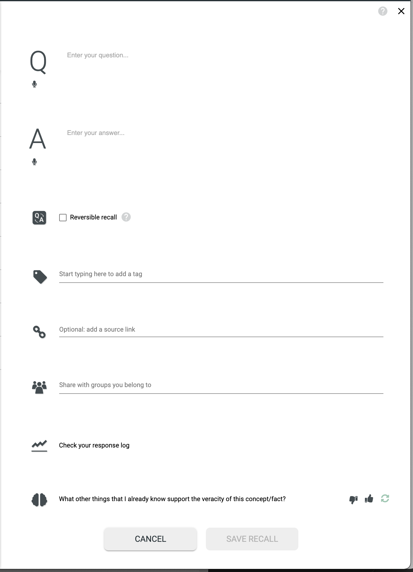 The CREATE NEW RECALL form.