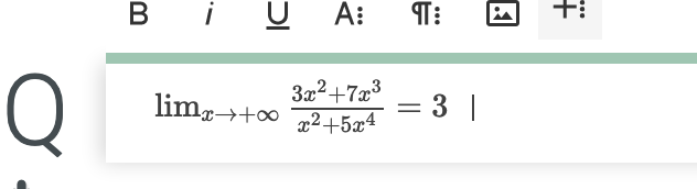 A formula is printed into the Q field.