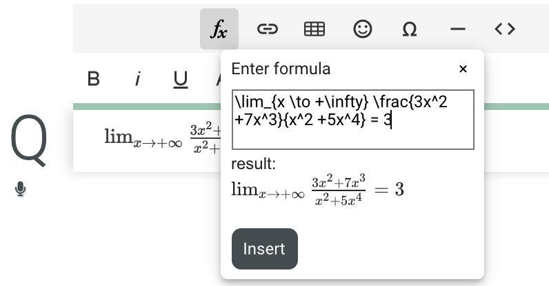 Select a formula in the Q field and click the formula editor to edit it.