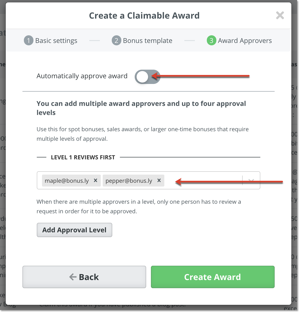Third and final step to creating a claimable award, showing how to toggle the